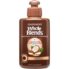Garnier Whole Blends Smoothing Leave-In Conditioner Coconut Oil & Cocoa Butter Extracts Ounce Coconut Oil Hair Treatment, Coconut Oil Hair Growth, Coconut Oil Hair Mask, Natural Coconut Oil, Coconut Oil For Acne, Benefits Of Coconut Oil, Leave In Conditioner, Hair Conditioner, Hair