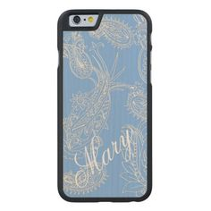 Blue and White Paisley iPhone 6 Case to Customize Carved® Maple iPhone 6 Slim Case