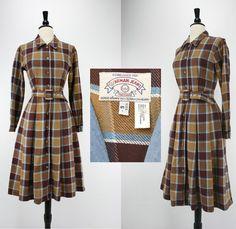 Vintage 80er Jahre Giorgio Armani Kleid Armani Jeans Label EST. 1981 Milano Plaid Baumwolle Twill w / Nap braun blau Designer 50er Jahre-Stil der 80er Jahre Kleider