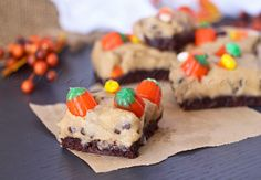 Candy Corn Cookie Dough Brownies