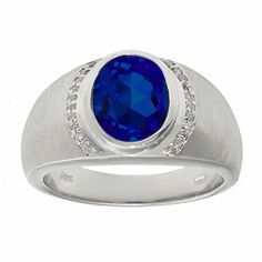 Men's Oval-Cut Sapphire and Diamond Ring In Sterling Silver Gemologica.com offers a unique selection of jewelry for men. Our men's jewelry includes bracelets, earrings, rings, chains, pendants and necklaces, and accessories. We offer one of the largest and most discriming selections of mens gemstone and birthstone rings, crafted in silver and 10K, 14K and 18K yellow, white and rose gold. Complete men's fashion jewelry collection here: www.gemologica.com/mens-jewelry-c-28.html