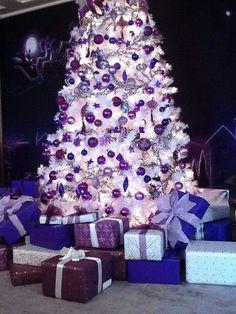 17 Purple Christmas Trees Decorating Ideas More white christmas Purple Christmas Tree Decorations, White Christmas Trees, Beautiful Christmas Trees, Noel Christmas, Silver Christmas, Christmas Cactus, Xmas Trees, Christmas 2019, Purple Christmas Wedding