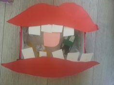 Knutselen kinderen craft art shoebox schoenendoos mond mouth met goede slechte bacteriën erin