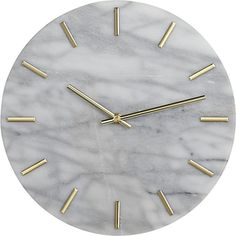 carlo marble and brass wall clock | CB2