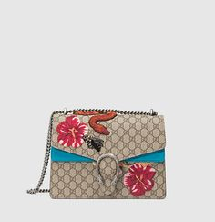 Gucci - dionysus gg supreme canvas embroidered shoulder bag. Hibiscus, and bees and tigers OH MY!