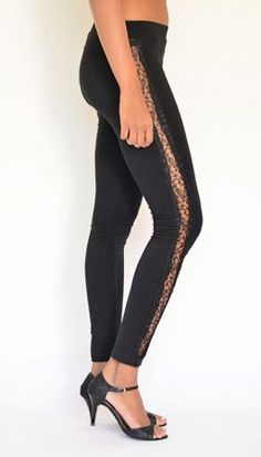 """Side Sheer Lace Panel Leggings"" Cotton & Lycra – Ankle Length. Buy Now :https://www.estrolo.com/product-category/women/leggings/ #BlackLeggings #StylishLeggings 3EstroloFashion"