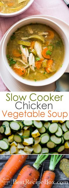 Easy recipe for a slow cooker chicken vegetable soup. This slow cooker chicken soup recipe is loaded with vegetables and is healthy, low calorie. Vegetable Korma Recipe, Yummy Vegetable Recipes, Vegetable Soup With Chicken, Vegetable Casserole, Chicken And Vegetables, Healthy Recipes, Vegetable Samosa, Vegetable Dishes, Vegetable Pizza