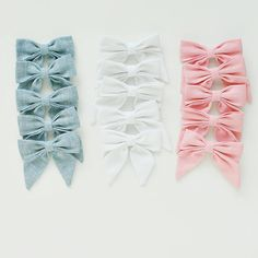 Sailor Bow. Collab with Lulu and Milly and Bonnie and Harlo. Linen hair bow clip. Pink, blue and white