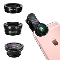 iPhone Lens,by Ailun,3 in 1 Clip On 180 Degree Fish Eye Lens+0.67X Wide Angle+10X Macro Lens,Universal HD Camera Lens Kit for iPhone 6s/6s Plus/6/SE/5/5s,Samsung,Blackberry,Mobile Phone [Black]