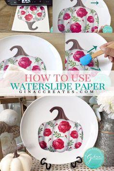 How to use Water-slide Decal Paper – Gina C. Vinyl Crafts, Paper Crafts, Diy Tumblers, Glitter Tumblers, Glitter Cups, Tattoo Paper, Cricut Tutorials, Transfer Paper, Heat Transfer