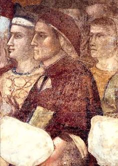 """Dante Alighieri Portraits (Giotto) - Detail from a fresco in the Podestà Chapel in the Palazzo del Bargello by Giotto, who was considered by Dante to have revolutionized the art of painting in the 14th century: """"In painting Cimabue thought he held the field, and now it's Giotto they acclaim – the former only keeps a shadowed fame.""""(Purgatory XI, 94-96) - Chapter 18"""