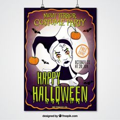 Halloween party poster of harlequin Free Vector