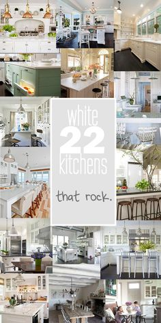 LOVE A WHITE KITCHEN! ...but a husband who does not. Compromise, compromise. I'll just get some inspiration from these pretty kitchens :)