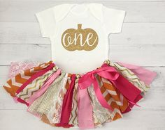 Pink, Orange and Gold Fall Themed First Birthday Outfit, Baby Girl Pumpkin Theme Birthday Outfit, Pink and Orange Tutu
