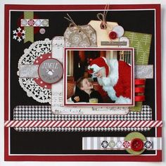 Scrappy Chick Designs: A Little More Christmas~ Scrapbook Layout Pink Paislee May Arts Ribbon #scrapbooklayouts