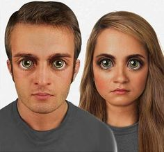 Evolution; Bug eyed: How scientists predict the human face might look in 100,000 years. Scientists believe the human face will have evolved to sport larger heads to fit a bigger brain and huge bug-like eyes featuring a sideways blink.