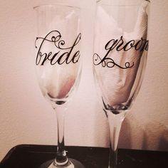 Wine glass set Bride & Groom