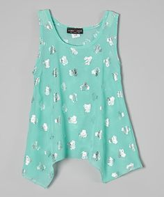 Mint & Silver Owl Sidetail Crop Top - Girls by Rated G #zulily #zulilyfinds