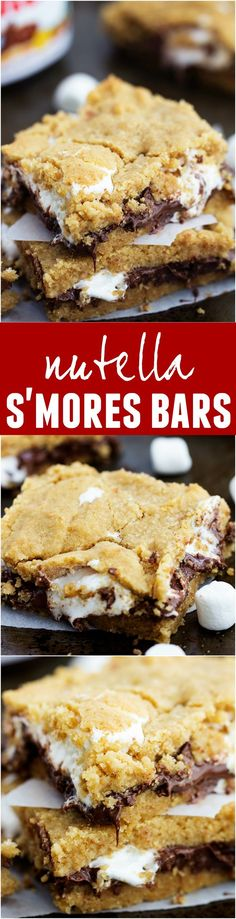 These Nutella S'mores Bars are ooey and gooey and one of the best ...