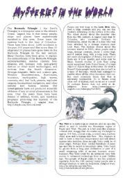 English worksheet: Mysteries in the world