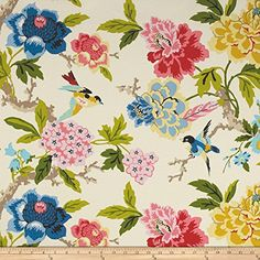Waverly Candid Moment Gardenia Indoor/Outdoor Fabric, Pink Yellow Blue Floral Upholstery Fabric, Birds and Peony Outdoor Fabric by the yard Floral Upholstery Fabric, Pink Fabric, Drapery Fabric, Floral Fabric, Fabric Decor, Fabric Design, Fabric Birds, Gardenia Indoor, Bird Bathroom