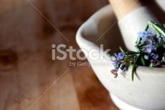 Freshly picked herb Rosemary in a pestle and mortar with copy space. Earth Color, Alternative Medicine, Image Now, Royalty Free Stock Photos, Herbs, Fresh, Amp, Flowers, Plants