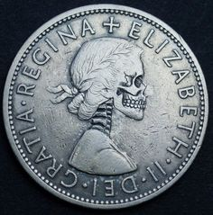 """""""hobo"""" carving on British crown Day Of Dead Makeup, Skeleton Photo, Badass Skulls, Hobo Nickel, Skull Hand, Coin Art, Old Coins, Coin Collecting, Sculpture Art"""
