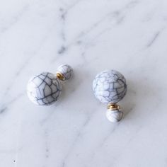 Our Best Seller! White Marble Studs with Gold Accents. Light weight and can be worn with large or small stud in front