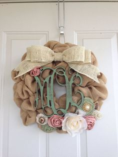 Burlap Wreath with Monogram Initials by DelaysDivineDesigns, $65.00 @Linda Verink LOVE this spring one!! :D