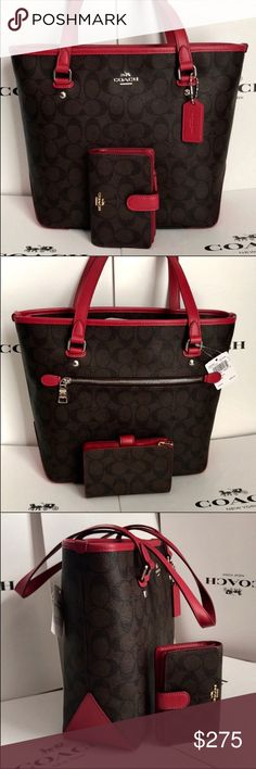 🍀Coach Set🍀 100% Authentic Coach Tote Bag and Wallet, brand new with tag!😍😍😍 Coach Bags Totes