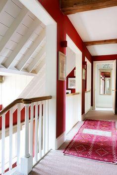 How to use red paint grandiose interior design farrow ball, Hallway Colours, Hallway Designs, Hallway Ideas, Red Rooms, Red Paint, Paint Colors, Red Interiors, Hallway Decorating, Interior Design Inspiration