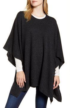 CASHMERE Fine Wool DENIM BLUE Poncho Wrap Topper One Size NWT