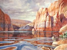 Mirrors of Stone - watercolor painting of Lake Powell by Roland Lee