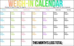 Weigh-in calendar.