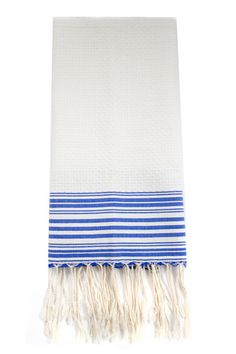 Scents & Feel White + Blue Striped Fouta Guest Towel via Establishment Home