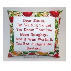 Funny Cross Stitch Christmas Pillow, Red Pillow, Dear Santa Quote