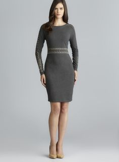 Long Sleeve Stud Embellished Sheath Dress