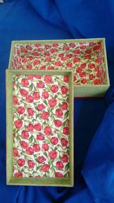 Cartonagem em MDF tecido algodão e fita de cetim