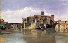 Island of San Bartolommeo, 1828 by Camille Corot. Realism. cityscape. Private Collection