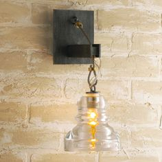 Reproduction Insulator Glass Sconce aged_steel