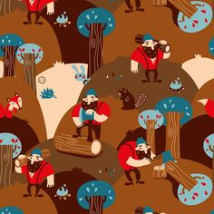 Lumber Jack baby fabric by verycherry on Spoonflower - custom fabric  Also available as gift wrap and wallpaper.  The wallpaper is adorable!