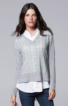 4d68249987bd92 Simply Vera Vera Wang Mock-Layer V-Neck Sweater - Women's Sweater Layering,