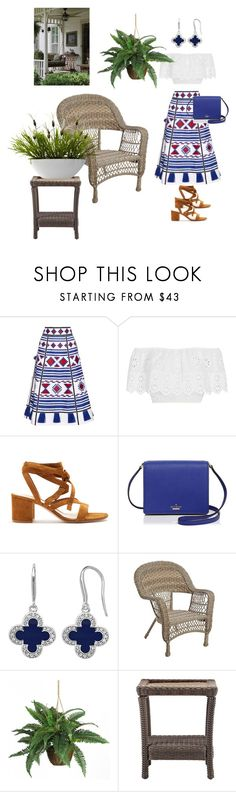 """Iced Tea & A Pretty Skirt"" by shamrock-gal ❤ liked on Polyvore featuring Vita Kin, Miguelina, Gianvito Rossi, Kate Spade, Marie Claire, Nearly Natural and Home Decorators Collection"