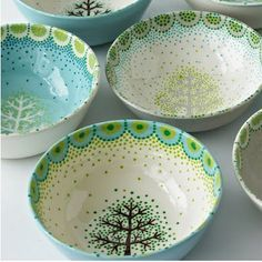 tree painted bowls - Google Search