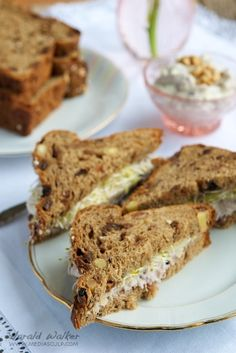 Raisin Bread with a Vegan Cream Cheese and Nut Spread, Pears and ...