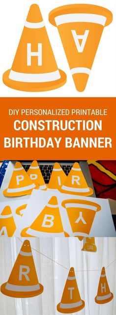 Personalized printable construction happy birthday banner. Just download, print, cut and hang! #banner #birthday #construction #diy #printable #printablebanner