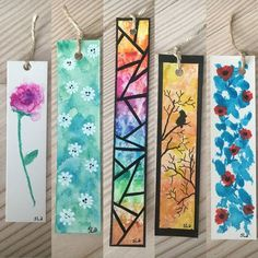 watercolor bookmarks made bookmarks Creative Bookmarks, Cute Bookmarks, Bookmark Craft, Handmade Bookmarks, Bookmark Ideas, Corner Bookmarks, Bookmarks Quotes, Paper Bookmarks, Crochet Bookmarks