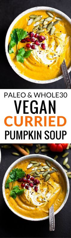 Easy Vegan Pumpkin Soup. A low carb and delicious pumpkin soup recipe that's full of warm spices & creamy coconut milk.   For more pins like this, follow us @juicemetoo!