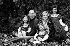 Black and White  Family Portrait  Outside  Fall - family of five - 5 person pose