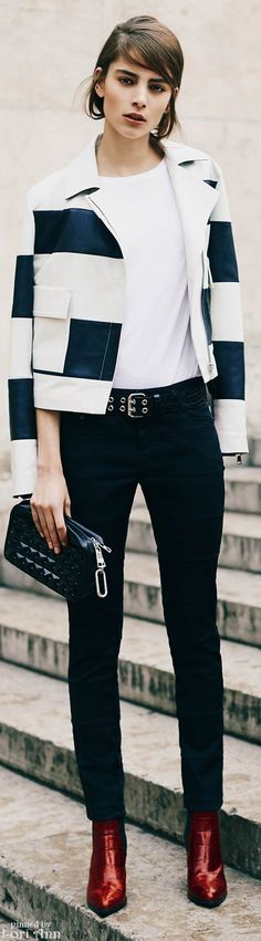 Sonia Rykiel ~ Black and White Patched Cropped Jacket w Gabardine Skinny Pant